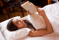 Reading before sleep. Stock Photography