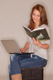 Reading and smiling Stock Photos