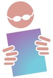 Reading with specks. Isolated illustrated image Royalty Free Stock Photo