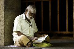 Reading spiritual song. Old holi man sung the spiritual poem Royalty Free Stock Images