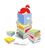 Reading on a stack of books. A book worm is reading a book on a stack of books Stock Image
