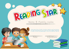 Reading star award template with children background Royalty Free Stock Photos