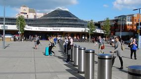 Reading Station Time Lapse. Reading, United Kingdom - June 14 2018:   A timelapse video of passengers coming and going from Reading train Station on a sunny stock footage