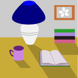 Reading. A table with a lamp, a book and a cup royalty free illustration