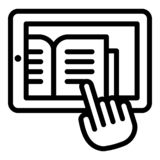 Reading from the tablet icon, outline style royalty free illustration