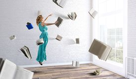 When reading takes your away. Mixed media stock image