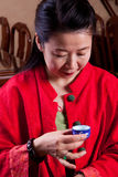 Reading the tealeaves. Attractive woman inside a traditional tea house, reading her tea leaves Stock Photos