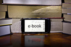 Reading technology. E-book can be read even on mobile phones Royalty Free Stock Photos