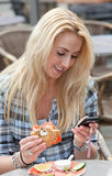 Reading a text message royalty free stock photo