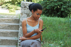 Reading text message stock images