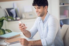 Reading text message Stock Image