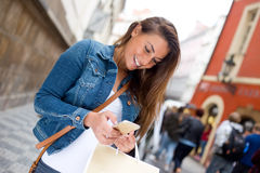 Reading text messages Royalty Free Stock Photography