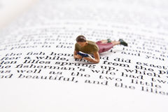 Reading Time. Miniature person reading while sitting on page of book Royalty Free Stock Photo