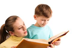 Reading together royalty free stock photo
