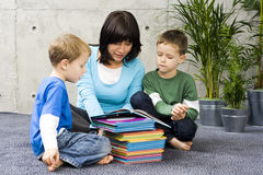 Reading together royalty free stock photos