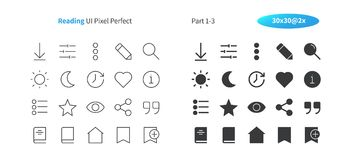Reading UI Pixel Perfect Well-crafted Vector Thin Line And Solid Icons 30 2x Grid for Web Graphics and Apps. Simple Minimal Pictogram Part 1-3 Royalty Free Stock Photos