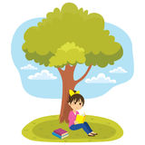 Reading Under Tree. Young little girl reading a book under tree vector illustration