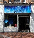 O2 store Frontage. Reading, United Kingdom - April 26 2018:   The front of the O2 store in Broad Street Stock Photography