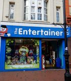 The Entertainer toy shop. Reading, United Kingdom - April 26 2018:   The frontage of the Entertainer toy shop on Broad Street Royalty Free Stock Photography