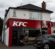 KFC Store front. Reading, United Kingdom - August 27 2018: The entrance to Kentucky Fried Chicken store on Shinfield Road stock image