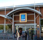 Aldi Supermarket Entrance stock images