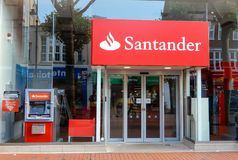 Santander Store Front. Reading, United Kingdom - June 22 2018: The store frontage of Santander Bank in Broad St royalty free stock image