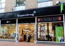 Superdrug Store Front. Reading, United Kingdom - June 22 2018: The store frontage of Superdrug Pharmacist and cosmetic store in Broad St stock photo