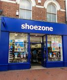 Shoe Zone Shop. Reading, United Kingdom - May 09 2018:   The frontage of SHoe Zone budget shoe shop in Broad street Stock Photos