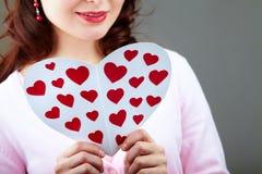 Reading Valentine card Royalty Free Stock Image