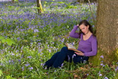 Reading among wildflowers Royalty Free Stock Photos