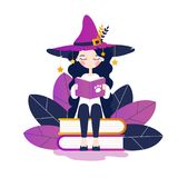 The Reading Witch. Flat vector illustration. The young witch sits on books and reads. Flat vector illustration royalty free illustration