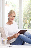 Reading woman portrait royalty free stock image