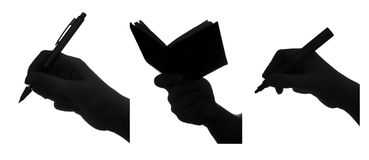 Reading and writing. Writing and reading silhouettes set. each one is shot separately Stock Photography