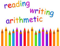 Reading and writing. Basics in primary school: reading, writing and arithmetic vector illustration