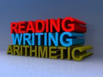 Reading, writing, arithmetic illustration. Reading, writing and arithmetic illustrated in 3D block text graphics stock illustration