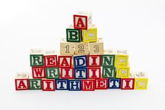 Reading writing blocks arithmetic 123. Abc alphabet blocks wood reading writing arithmetic numbers counting 123 school learning Stock Image