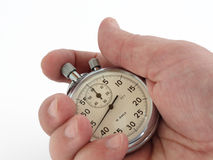 Readout of time. On a mechanical stop watch Royalty Free Stock Image