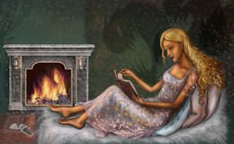 Reads. The young girl in cozy house conditions reads the book at a fireplace lying on a sofa Royalty Free Stock Image