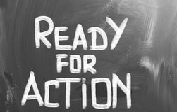 Ready For Action Concept. Concept Handwritten With Chalk On A Blackboard Stock Images
