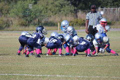 Ready for Action. The PeeWee Football Players Are Lined Up Against Each Other Ready To Run The Next Play Under The Watchful Eye Of The Referee Stock Image