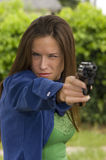 Ready Aim Fire Woman Shooting Practice Handgun Stock Images
