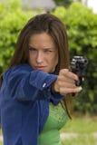 Ready Aim Fire Woman Shooting Practice Handgun Stock Images