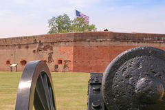 Ready, Aim, Fire. Fort Pulaski, a crucial Civil War fort, is now a tourist spot outside Savannah Georgia on the way to Tybee Island.  The evidence of the Union Stock Photography