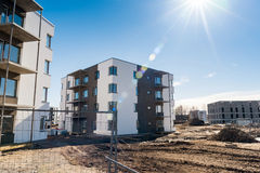 Ready apartment building. Construction site. New housing development Royalty Free Stock Photos