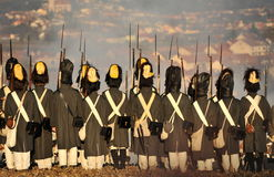 Ready for the battle. History fans reenacting the battle of 1805 Austerlitz Stock Photos