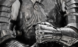 Ready for Battle. Detail monochromatoc shot showing a knight in full body armour Royalty Free Stock Photos