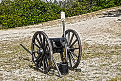 Ready for battle. A civil war cannon sit idle during an reenactment  in massachusette Stock Photography