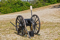 Ready for battle. A civil war cannon sitting idle at a civil war reenactment Stock Images