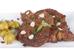 Ready beef meat on white Royalty Free Stock Photos