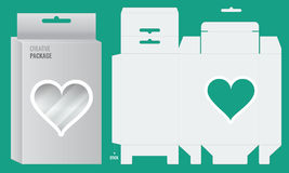 Ready Box design with Shelf Hanging Holes and transparent heart shape window. Die cut blueprint Layout design. Illustrated vector stock illustration